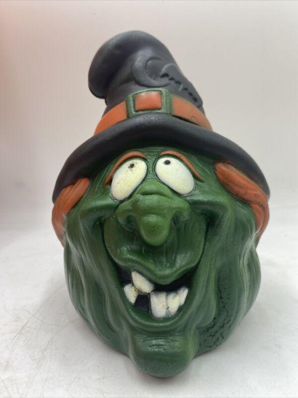 Vintage foam Halloween witch head 80s scary spooky party decorations Dan Dee