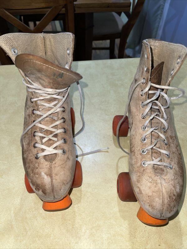 Vintage Men's Full Grain Leather Rental Roller Skates Size 8 Krypto Wheels