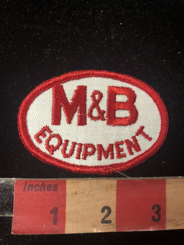 Vtg Red On White M & B EQUIPMENT Embroidered Cloth Advertising Patch 02SA