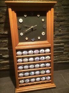 GOLF BALL RACK & CLOCK WITH BALLS & COURSE MARKERS