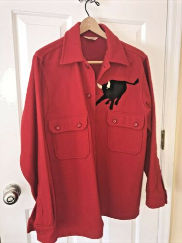 Official Boy Scout Red 100% Wool Jacket Shirt 42 Vintage Philmont Bull