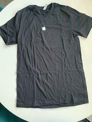 Black Top T-Shirt White Apple Mac Logo Cotton Medium Apple Fans Collectors