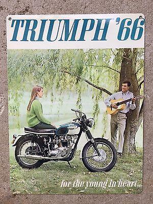 Triumph 66 Bonneville British Motorcycle Ad Trophy TR6 Vintage Poster Metal Sign