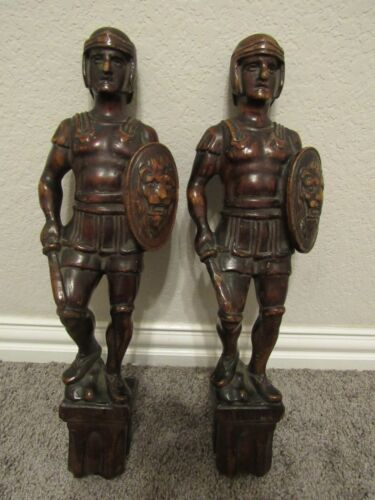 """Antique Pair of Carved Wood Figures Roman Soldier Finials 18"""" Circa 1850"""