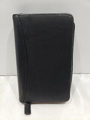 Franklin Quest Covey Pocket Planner 12 Ring Binder Black Smooth Leather Zip