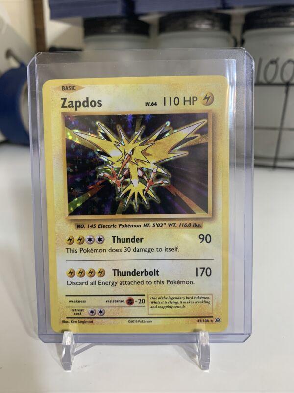 Zapdos Holo Rare 42/108 Pokemon Xy Evolutions Anniversary Holographic Foil - Lp