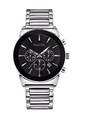 Bulova Men's 96B203 Quartz Chronograph Black Dial Stainless Steel Watch