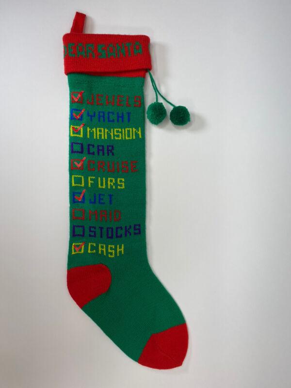 """☆Dept 56 Dear Santa Checklist Knit Christmas Stocking 21"""" Green Vintage 1985 EUC"""