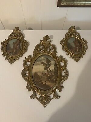Mirror Frame Gold Metal made in Italy Small Ornate Florentine Pair Oval Photo Frame Vintage Fits 3 12 x 2 12 inch Picture Wall Hung