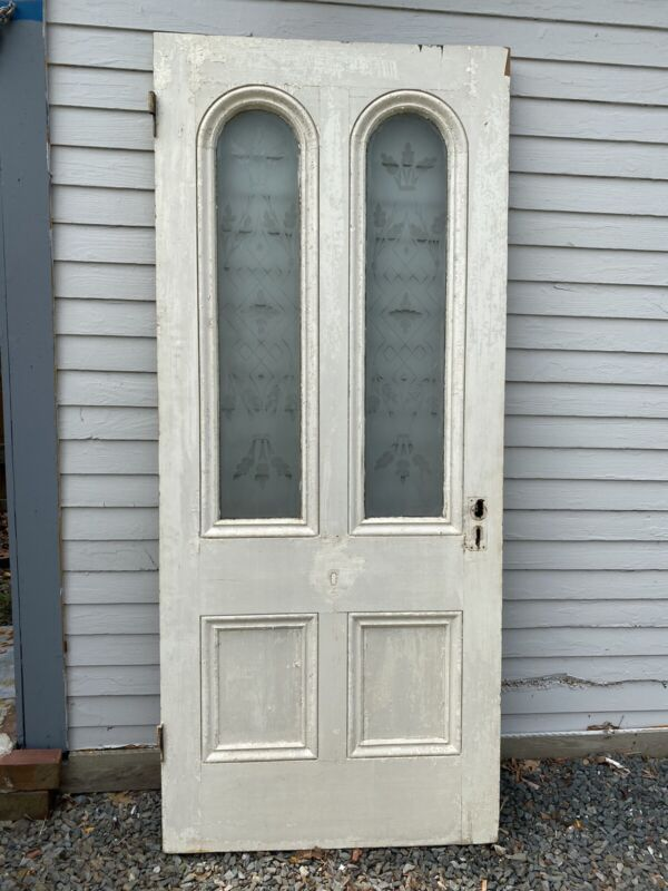 """Victorian Etched Tombstone Glass Front Door 83 5/8""""H x 35 7/8""""W ~ Pyramid Panels"""