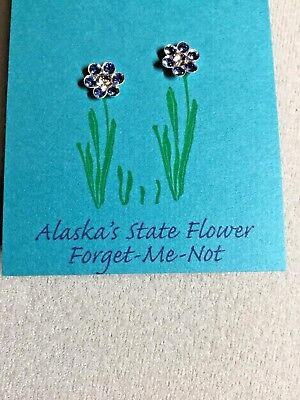 Forget me not earrings Austrian crystal Sterling Silver settings & posts -