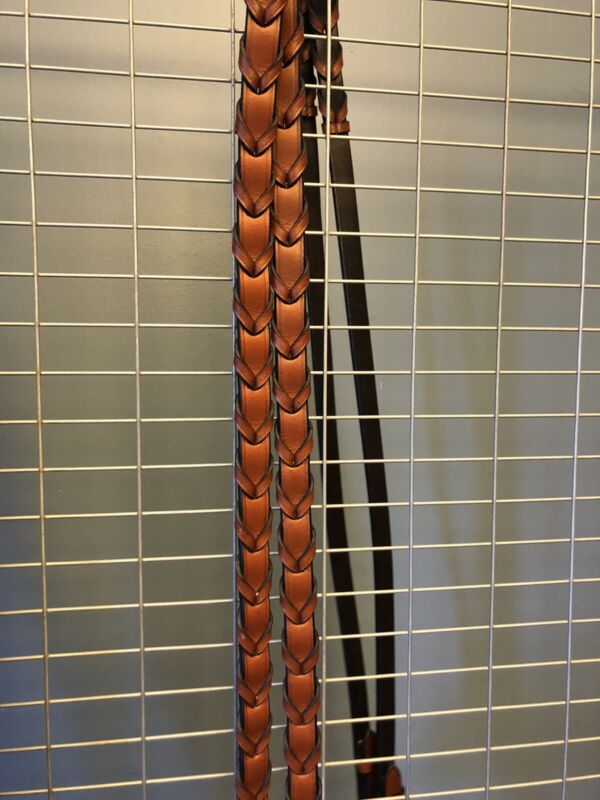 """NWT Bobby's English Tack Signature Flat Laced Reins-cognac Leather-Oversize 66"""""""