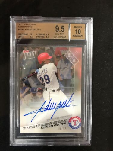 On-card Autograph # To 99 - Adrian Beltre 3000th Hit - Topps Now Bgs 9.5/ 10