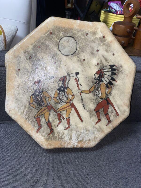 """Native American Painted Rawhide 12"""" Drum Sho Ban Vintage"""