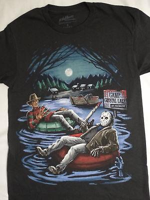 Freddy Krueger and Jason Voorhees In Inner Tube Camp Crystal Lake Horror T-Shirt](Camp Crystal Lake)