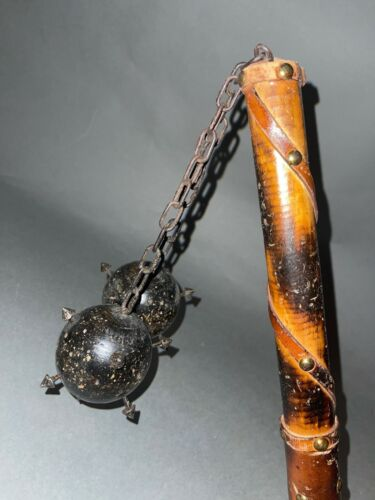 1950s Spanish Reproduction Double Mace w Chain & 2 Metal Spiked Wood Balls as is
