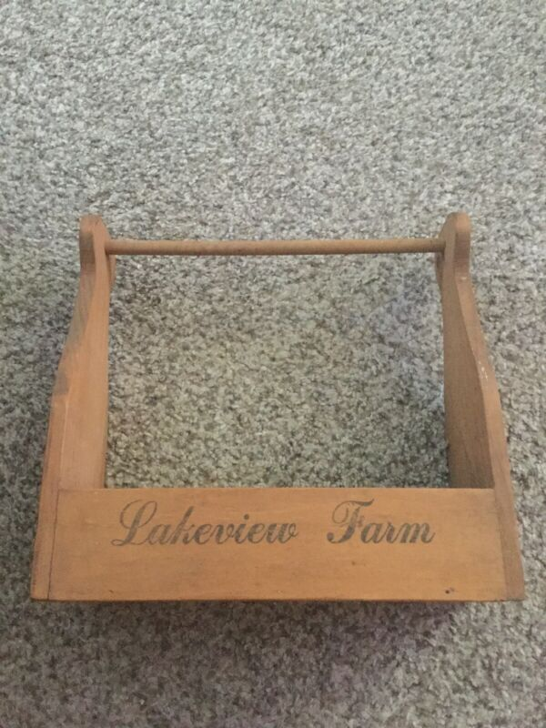 Vintage Antique Handled Wooden Milk Carrier Lakeview Dairy Farm - Cow Logo - 13""