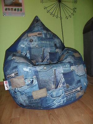 """Sitzsack L """" von Lux """" ca 330 Liter Lederimitat blau  Jeans Look  Lounge"""