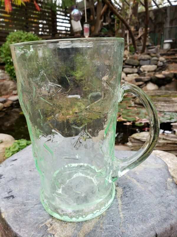 "ANTIQUE APPLE GREEN GLASS STAR PITCHER 8.5"""