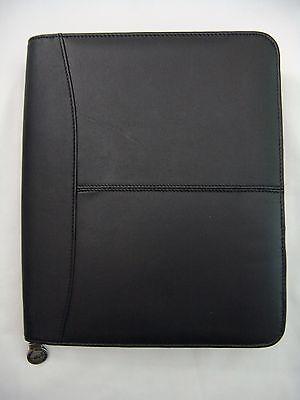 Hazel Black Leather Premium Zip Around Organizer Note Pad Holder 8.5 X 10.5 New