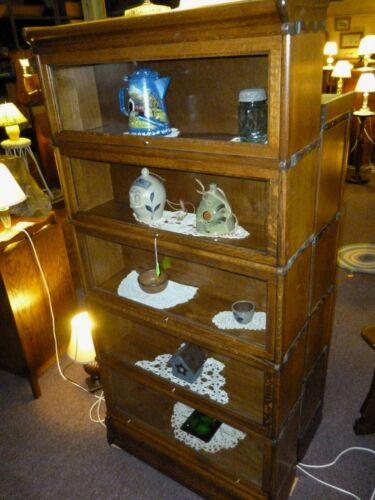 Antique oak Book Case Bookshelf Macey co. restored refinished curio quarter saw