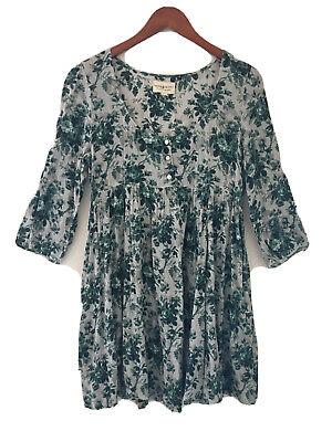 Denim & Supply Ralph Lauren Floral Dress Green Gray 3/4 Sleeve Medium