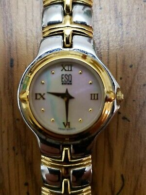 MOVADO ESQ E5124 TWO TONED MOTHER OF PEARL SWISS QUARTZ WOMENS WATCH  (WORKING)