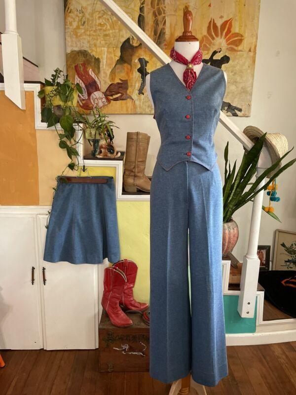 VTG 70s Western Suit Women's 4pc Set Sz S Skirt Pants Vest Jacket Rodeo Queen
