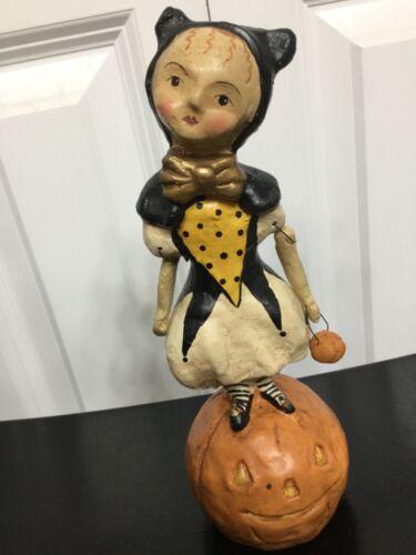 "Halloween ESC Tradiing 8.5"" Girl on Pumpkin by Nicole Sayre Retired"