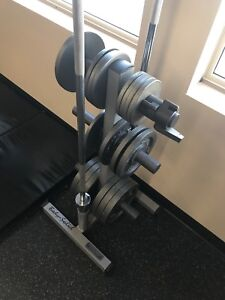 210 pounds of weights with tree and barbells
