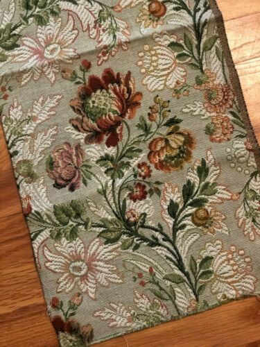 Antique vintage French floral cotton jacquard tapestry sample fabric, c. 1920-30