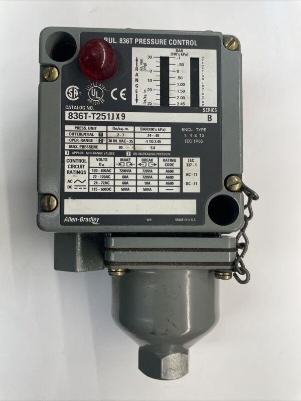 Allen Bradley 836T-T251JX9 Pressure Switch 30-0in-vac 0-35psi 1/4in Ser B