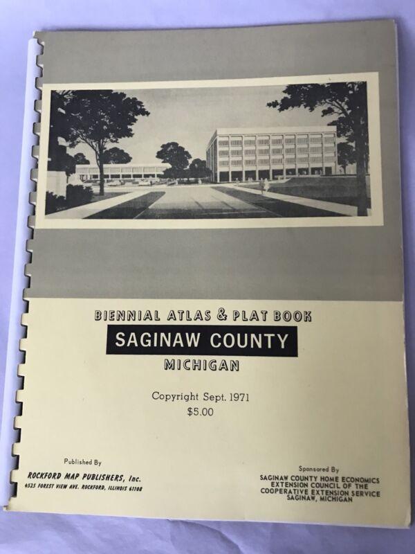 ORIGINAL 1971 Saginaw COUNTY Michigan land ATLAS & PLAT BOOK COLLECTIBLE