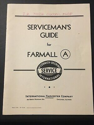 International Mccormick Deering Farmall A  Servicemans Guide Tractor Farm