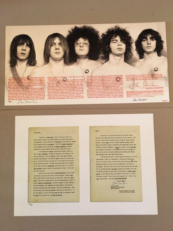 MC5 Liner Notes & Gatefold Set Leni & John Sinclair S/N COA Prints Detroit Iggy
