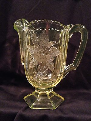 EAPG Rose Sprig Campbell Jones Glass Co. Yellow Canary Pitcher