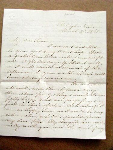 RALEIGH CIVIL WAR  NORTH CAROLINA LINCOLN ELECTION LETTER