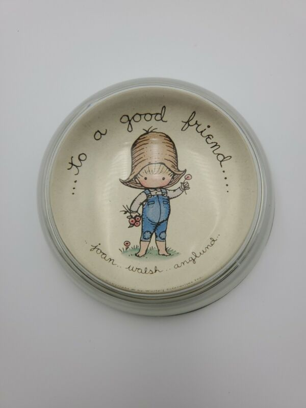 """Vintage Joan Walsh Anglund Glass Dome Paperweight Friendship """"To A Good Friend"""""""