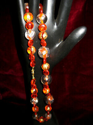 Halskette- orange, graue+ goldene Perlen - Modeschmuck - - 70er Jahre Modeschmuck
