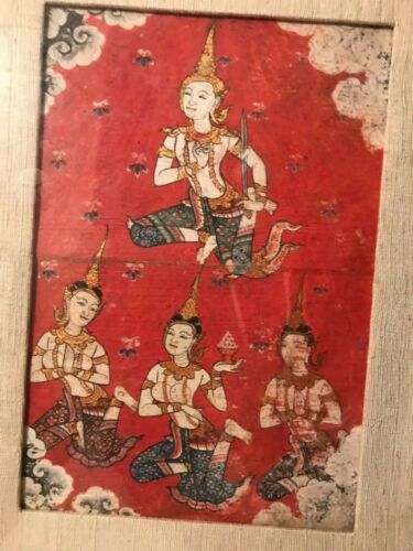 Antique 1800's BUDDIST Thai manuscript art Illuminated PAINTING Phrai Malai