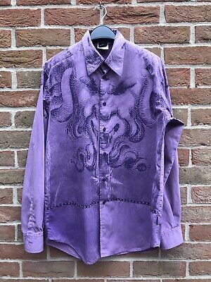 Versace Jeans Couture Mens Vintage Shirt Purple Tye Dye Made In Italy Sz M Rare