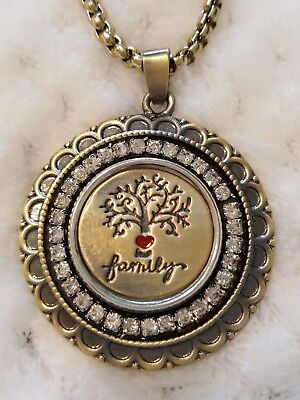 FAMILY TREE OF LIFE snap button bronze large pendant w/necklace gbag 18mm USA