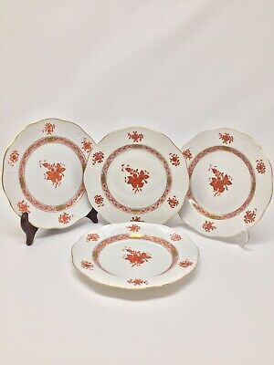 Herend Chinese Bouquet Rust Bread And Butter Plates (PAIR OF 4) MINT 💥SALE💥