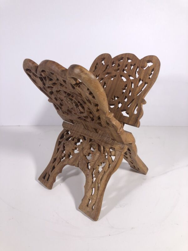 Vintage Folding Carved Wood Book Cookbook Bible Stand Wooden Flower Leaf India