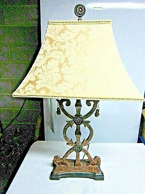 Wooden Table Lamp - 2 lights - Cream colored shade       30