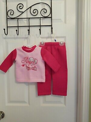 Diva Girls 2pc Outfit L/S Pink Shirt With Angel Forever And Pink Pant Size 12 M - Diva Outfits