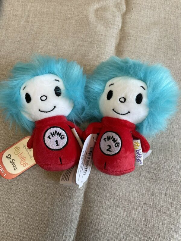 Hallmark ittybittys Dr. Seuss Cat in the Hat Thing 1 & Thing 2 Plush Set
