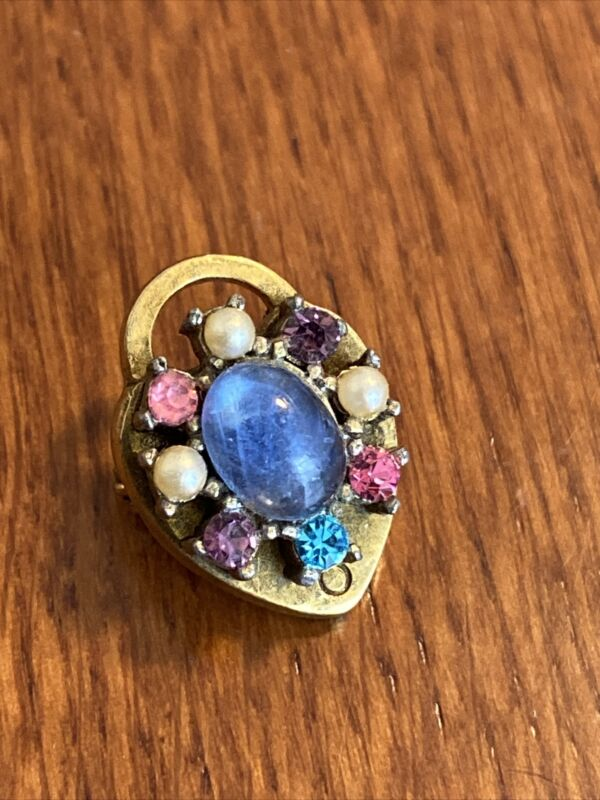 Gorgeous Antique gold filled Brooch heart lock Pendant Pale blue stone