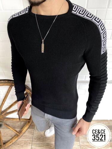 New Mens Long Sleeve Slim Fitted Black Pullover Sweater White Greek Shoulder