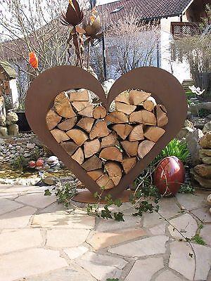 Herz aus Metall - Holz-Regal - Edel-Rost - Garten Terrasse - Deko - !!!RISIG!!!